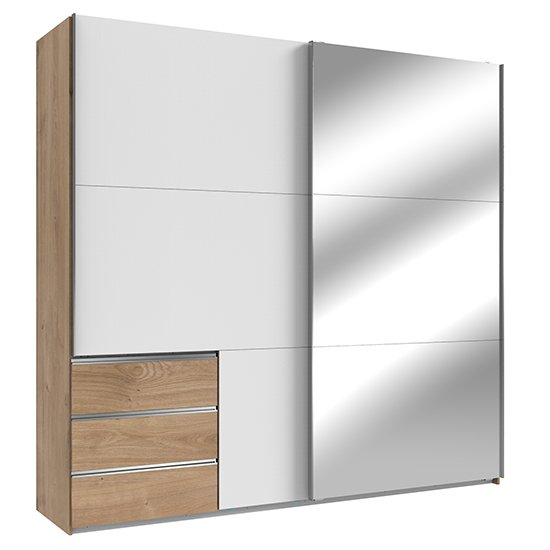 Alkesia Wide Mirrored Door Wardrobe In White And Planked Oak
