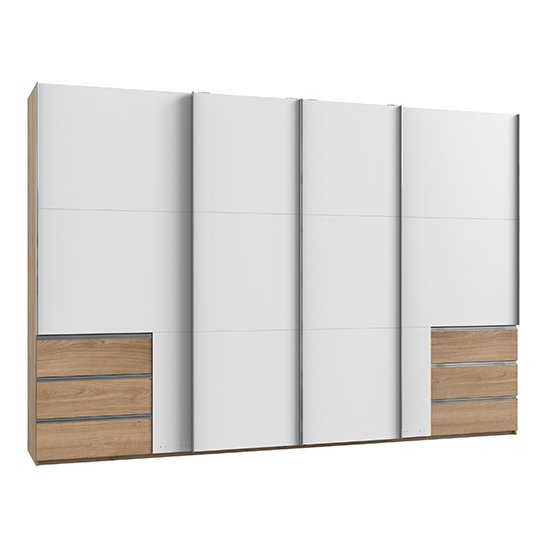 Alkesia Wide Sliding 4 Doors Wardrobe In White And Planked Oak