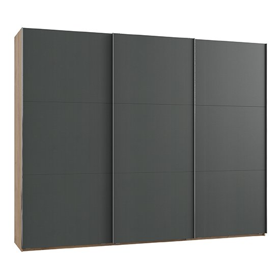 Alkesia Wooden Sliding 3 Doors Wardrobe In Graphite Planked Oak
