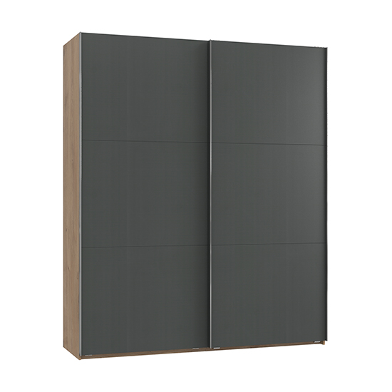 Alkesia Wooden Sliding Door Wardrobe In Graphite Planked Oak