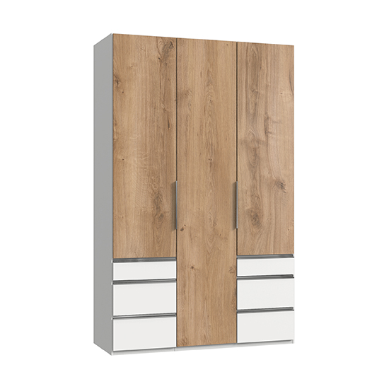 Alkesia Wooden 3 Doors Wardrobe In Planked Oak And White