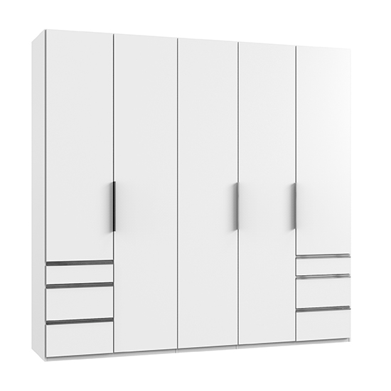 Alkesia Wooden 5 Doors Wardrobe In White With 6 Drawers_1