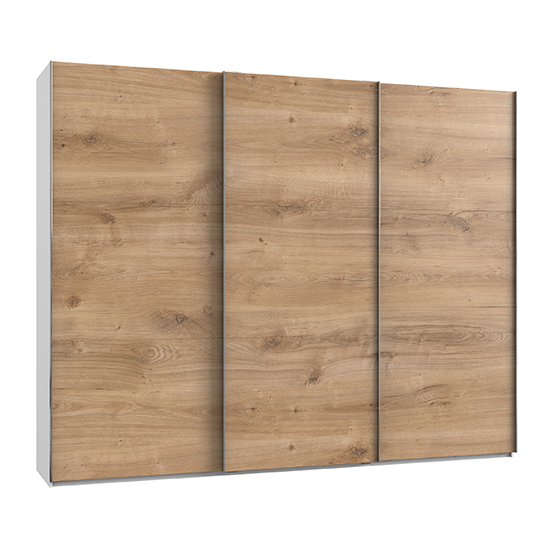 Alkesia Wooden Sliding 3 Doors Wardrobe In Planked Oak And White