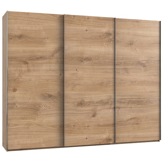Alkesia Wooden Sliding 3 Doors Wardrobe In Planked Oak