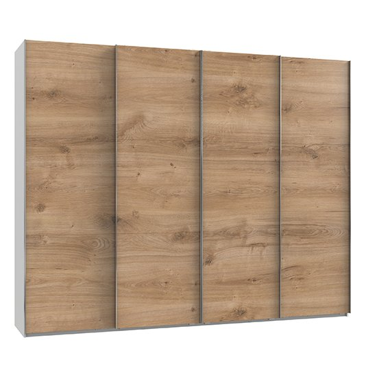 Alkesia Wooden Sliding 4 Doors Wardrobe In Planked Oak And White