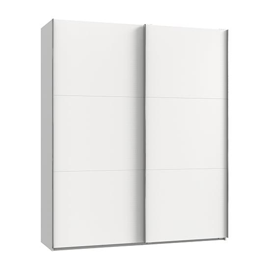 View Alkesia wooden sliding door wardrobe in white