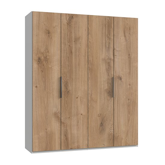 Alkesia Wooden Wardrobe In Planked Oak And White With 4 Doors