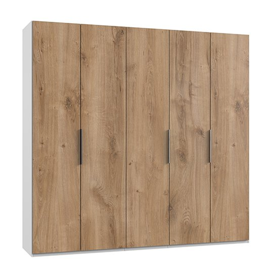 Alkesia Wooden Wardrobe In Planked Oak And White With 5 Doors