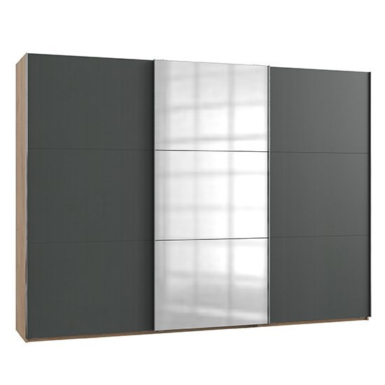 Alkesu Mirrored Sliding 3 Doors Wardrobe In Graphite Planked Oak