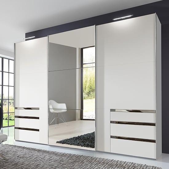 View Alkesu mirrored sliding 3 doors wardrobe in white with 6 drawers