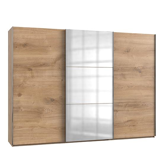 View Alkesu mirrored sliding door wardrobe in planked oak with 3 door
