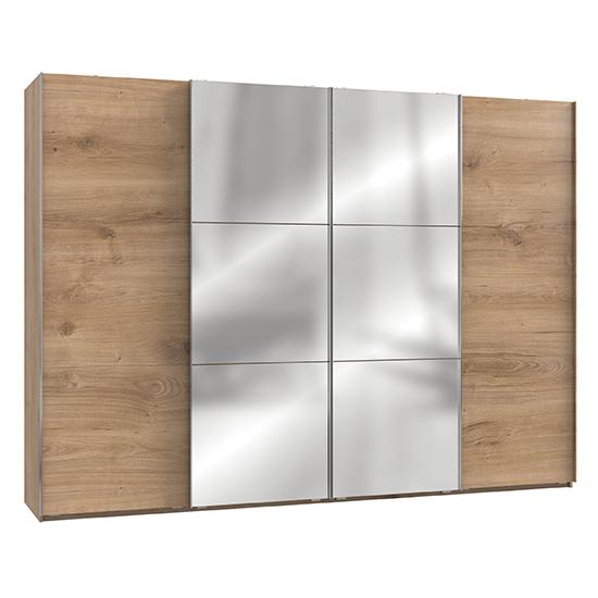 View Alkesu mirrored sliding door wardrobe in planked oak with 4 door