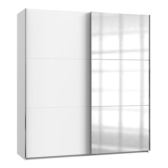 View Alkesu mirrored sliding door wardrobe in white