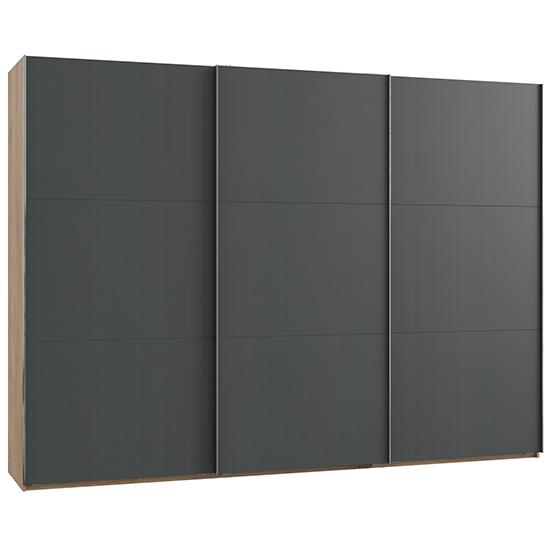 View Alkesu sliding 3 doors wardrobe in graphite and planked oak