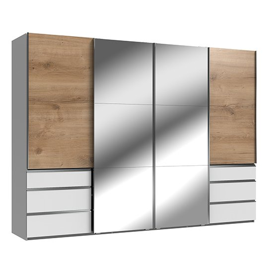 Alkesu Sliding 4 Doors Mirrored Wardrobe In Planked Oak White
