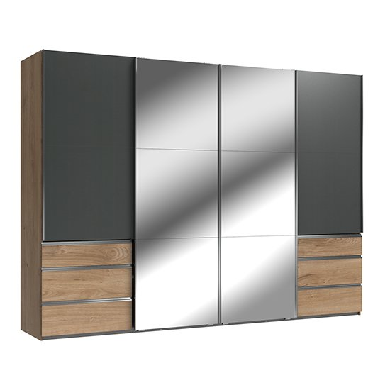 Product photograph showing Alkesu Sliding 4 Doors Mirrored Wardrobe In Graphite Planked Oak