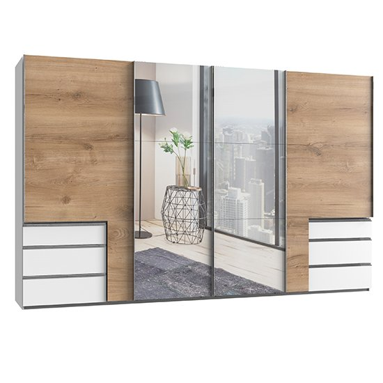 Alkesu Sliding 5 Doors Mirrored Wardrobe In Planked Oak White