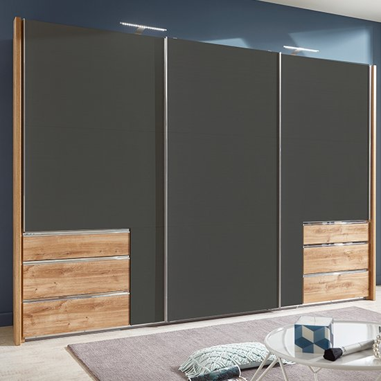 Alkesu Sliding Wardrobe In Graphite And Planked Oak With 3 Doors