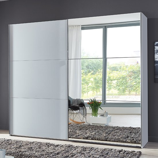 Alkesu Wide Mirrored Sliding Wardrobe In Planked Oak And White