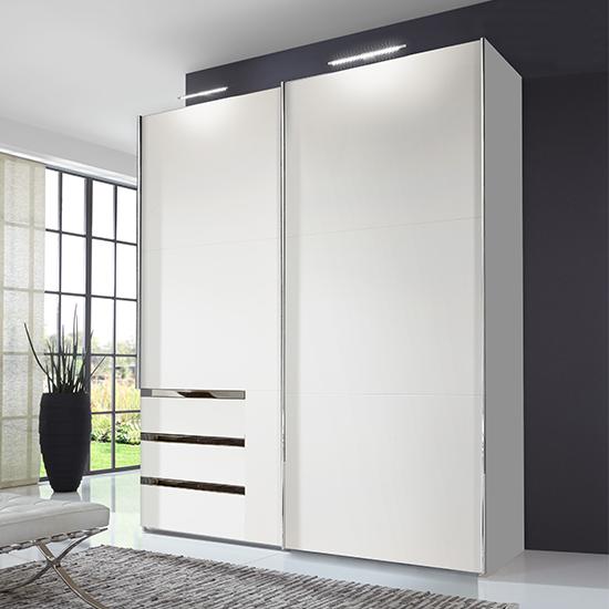View Alkesu wide sliding door wardrobe in white with 3 drawers