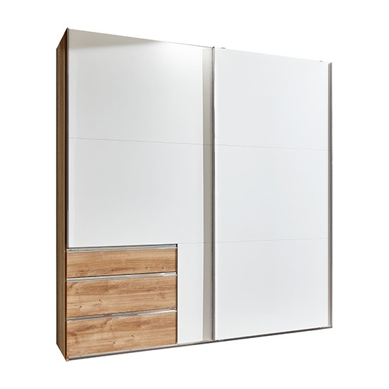 Alkesu Wide Sliding Wardrobe In White Planked Oak With 3 Drawers