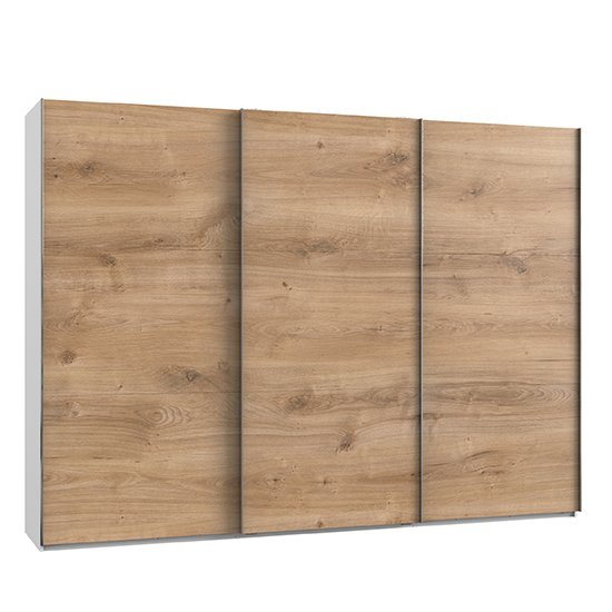 Alkesu Wooden Sliding 3 Doors Wardrobe In Planked Oak And White_1