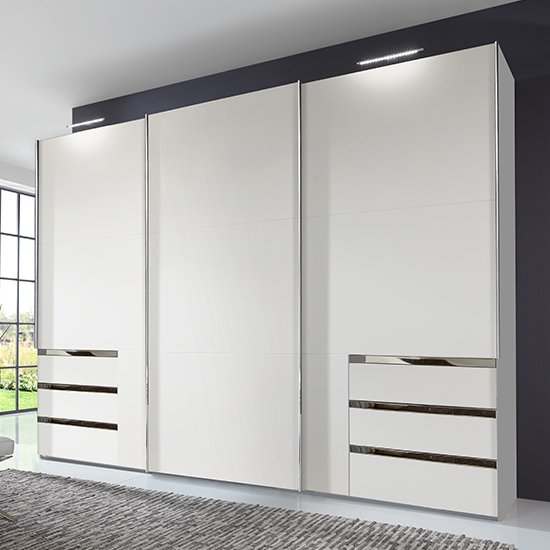 Alkesu Wooden Sliding 3 Doors Wardrobe In White With 6 Drawers