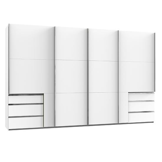 Alkesu Wooden Sliding 5 Doors Wardrobe In White With 6 Drawers