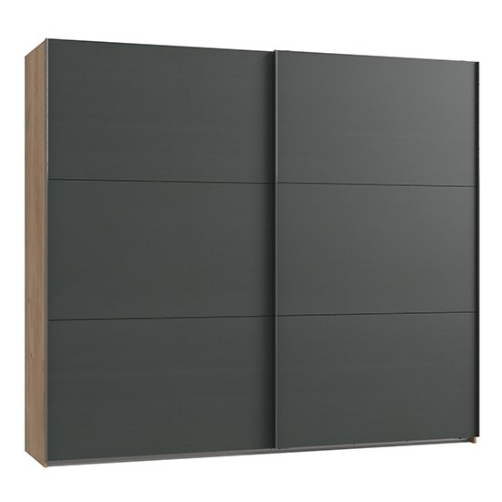 Alkesu Wooden Sliding Door Wardrobe In Graphite Planked Oak