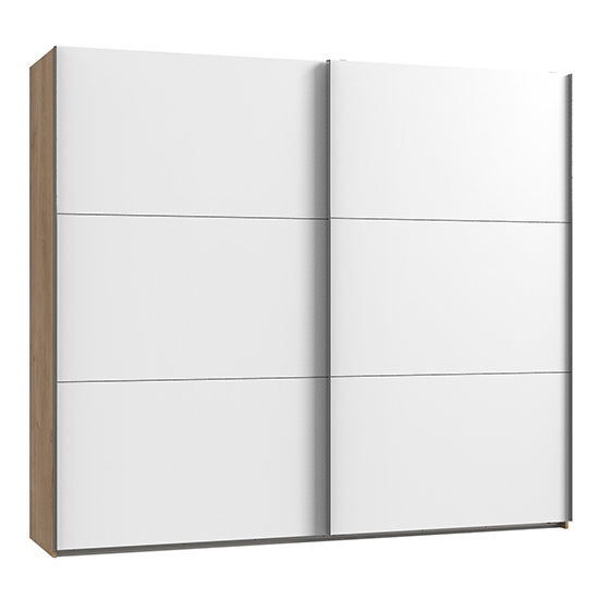 Product photograph showing Alkesu Wooden Sliding Door Wardrobe In White Planked Oak