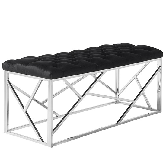 Allen Bench In Black Velvet With Polished Stainless Steel Base_1