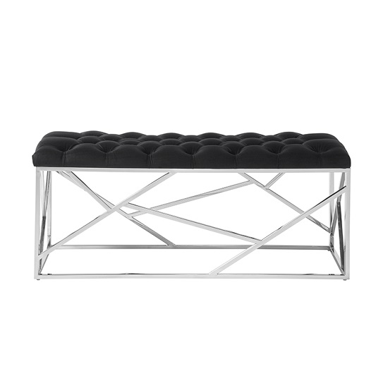 Allen Bench In Black Velvet With Polished Stainless Steel Base_2