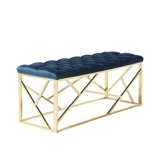 Allen Bench In Blue Velvet With Gold Plated Stainless Steel Base