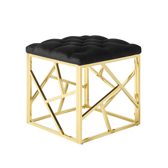Allen Stool In Black Velvet And Gold Plated Stainless Steel Base