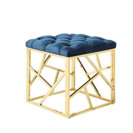 Awesome Allen Stool In Blue Velvet And Gold Plated Stainless Steel Base Inzonedesignstudio Interior Chair Design Inzonedesignstudiocom