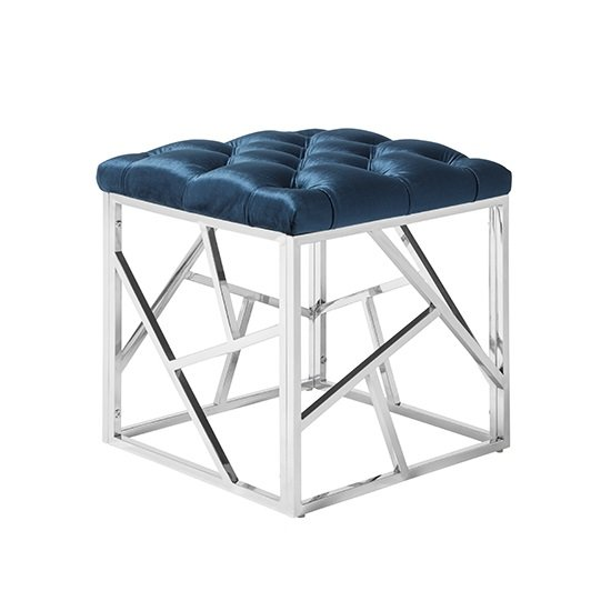 Allen Stool In Blue Velvet With Polished Stainless Steel Base