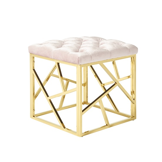 Allen Stool In Light Pink Velvet And Gold Plated Steel Base