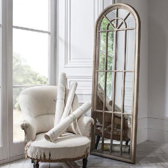 Leona Floor Mirror In Weathered With Panelled Window Style