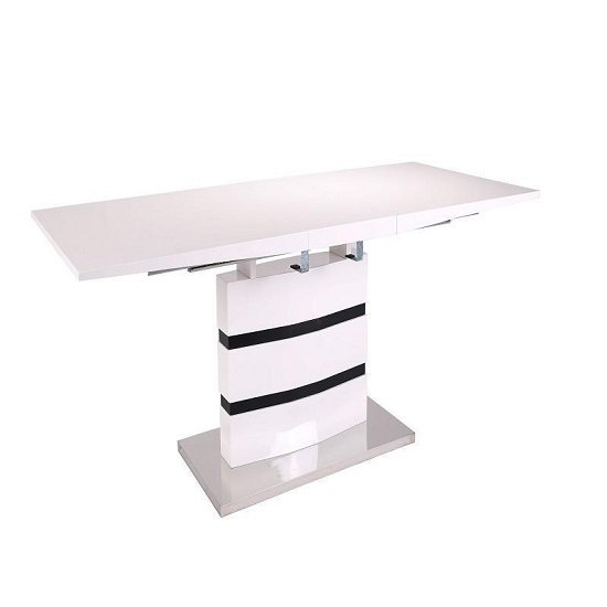 Allesia High Gloss Extendable Dining Table In White And Black