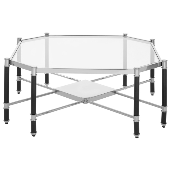 Allessa Glass Coffee Table In Silver And Chrome
