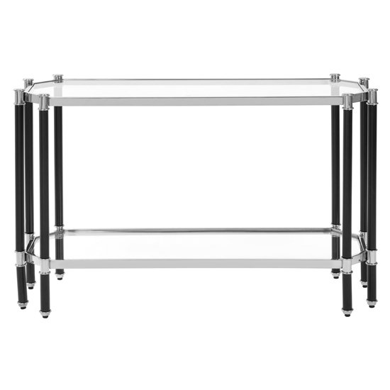 View Allessa glass console table in silver and chrome