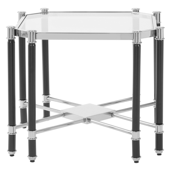 Allessa Glass End Table In Silver And Chrome