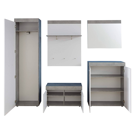Alley Wooden Hallway Furniture Set 1 In White And Cement Grey_5
