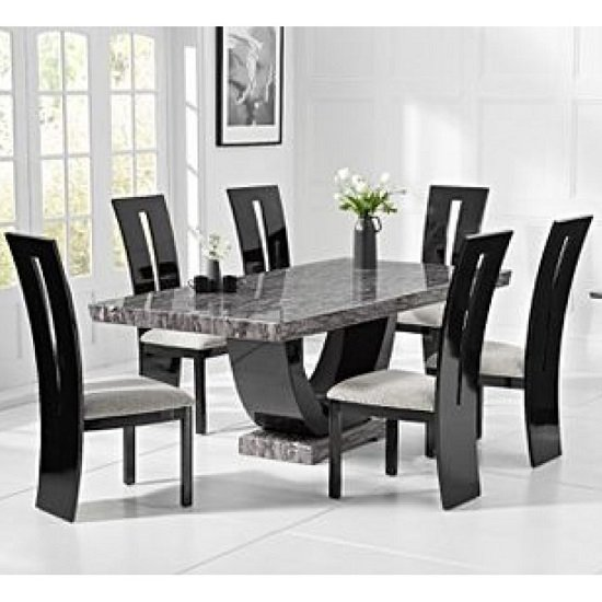 Product photograph showing Allie Marble Large Dining Table In Grey With Six Ophelia Chairs