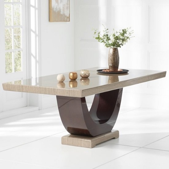 Allie Marble Large Dining Table In Light And Dark Brown_1