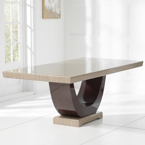 Allie Marble Large Dining Table In Light And Dark Brown_2