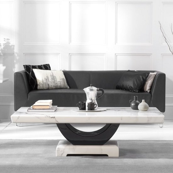 Aloya Marble Coffee Table Rectangular In White And Black