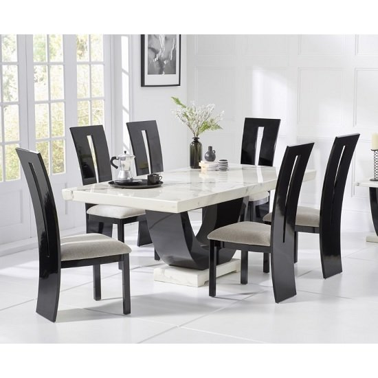 Aloya Marble Dining Table In White Black With 6 Ophelia Chairs