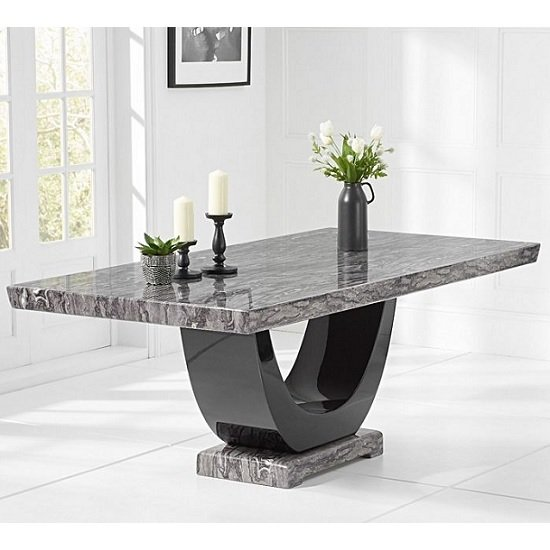 Allie Marble Dining Table Rectangular In Dark Grey And Black