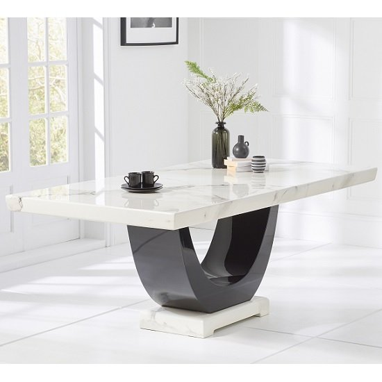 Allie Marble Large Dining Table Rectangular In White And Black